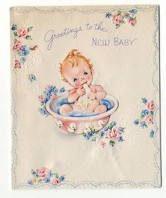 Vintage New Baby Card 1946 Vintage Birthday Cards, Vintage Greeting Cards, Vintage Postcards, Baby Clip Art, Baby Art, Purchase Card, Baby Journal, Old Cards, Baby Images