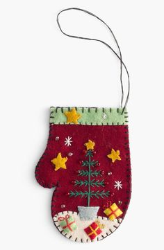 shipping and returns on New World Arts 'Tree with Presents' Mitten Ornament at . Blanket stitching trims a crafty mitten ornament embellished with beading and a cute Christmas tree. Cute Christmas Tree, Felt Christmas Decorations, Felt Christmas Ornaments, Christmas Stockings, Embroidered Christmas Ornaments, Christmas Sewing, Handmade Christmas, Christmas Projects, Holiday Crafts