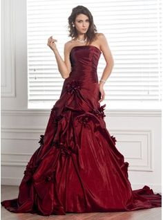 Ball-Gown Strapless Chapel Train Taffeta Wedding Dress With Ruffle Flower(s) (002000481)