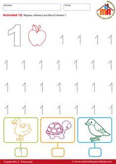 El número 1 - 12 preescolar - Material de Aprendizaje Printable Preschool Worksheets, Teacher Worksheets, Worksheets For Kids, Preschool Spanish, Free Preschool, Preschool Painting, Numbers Preschool, Nursery School, Math For Kids