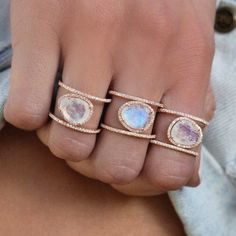 These are absolutely gorgeous! 14kt gold and diamond Double Band Moonstone ring – by Samantha Conn lunasky.com