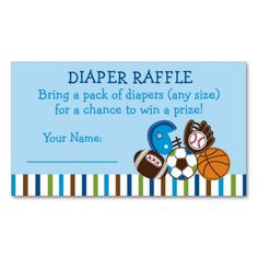 Shop Sports Diaper Raffle Tickets Enclosure Card created by LittlePrintsParties. Baby Shower Supplies, Baby Shower Themes, Baby Boy Shower, Shower Ideas, Diaper Shower, Football Themes, Pack Of Diapers, Baseball Birthday, Diaper Raffle Tickets