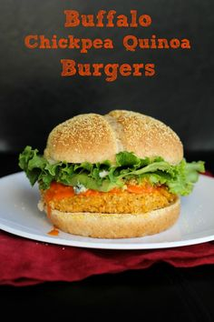 Buffalo Chickpea Quinoa Burgers For the Burgers: 1/4 cup uncooked quinoa 1 (540mL) can of chickpeas, drained and rinsed 1/2 cup rolled oats 1/4 cup minced shallot 2 garlic cloves, minced 1/4 cup buffalo sauce 1 large egg, lightly beaten 1/2 teaspoon salt 1/4 teaspoon pepper 1/4 cup breadcrumbs