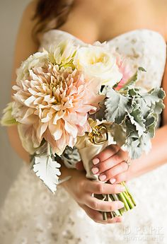 Classic blush pink and ivory soft bridal wedding bouquet with gold heart charm Big Flowers, Bridal Flowers, Bridesmaid Bouquet, Wedding Bouquets, Romantic Wedding Inspiration, Wedding Ideas, Floral Wedding, Wedding Colors, Floral Bouquets