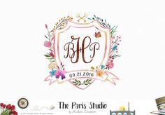 Watercolor Monogram Logo Design Custom Heraldry Crest Design for artisan boutique branding, e-commerce website logo, wordpress blog logo,…