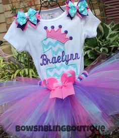1st Birthday Outfit Aqua, Purple, Hot Pink Chevron Tutu First Birthday