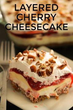 Cherry Desserts, Layered Desserts, Köstliche Desserts, Delicious Desserts, Yummy Food, Food Deserts, Pudding Desserts, Best Dessert Recipes, Healthy Recipes