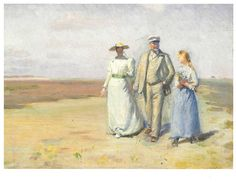 Dobbelt kort<br>Michael Ancher<br> Anna, Michael og Helga på heden : vis