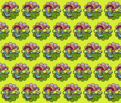 HIKING ORIGNAL FLOWERS SHOES fabric by paysmage on Spoonflower - custom fabric