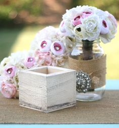 you pick the color Distressed Barn Wood Style Shabby Planter Vase Box Home Decor Rustic Chic Farmhouse Beach Cottage for $13.50 at etsy.com