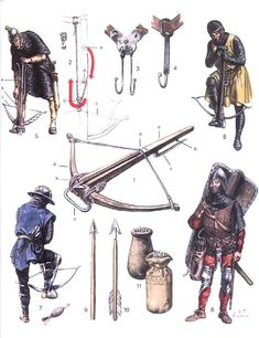 Crossbowmen with Belt Hooks and Various Accessory Items