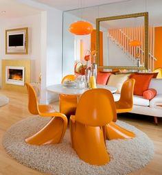 panton chair oranje zithoek
