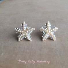 Beach Wedding Earrings - Starfish earring pearl rhinestone, beach wedding jewelry, post stud star accessories accessory GOLD PEARL on Etsy, $22.00