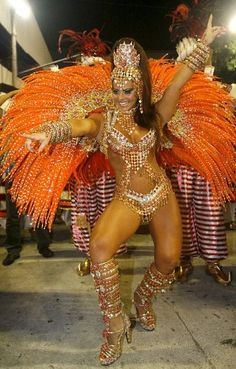 Dancer on rio carnival float.