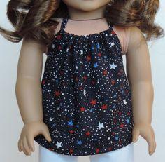 Patriotic Blue Halter Top American Girl Doll by HerDollEssentials
