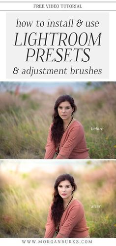 Installing and Using Lightroom Presets and Adjustment Brushes - Morgan Burks, Learn all about installing and using Lightroom Presets and Adjustment Brushes with this free tutorial! Photoshop For Photographers, Photoshop Photography, Photoshop Actions, Photography Tutorials, Photography Tips, Adobe Photoshop, Portrait Photography, Photoshop Face, Creative Photography