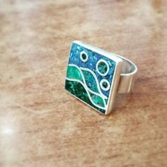 Plata y mosaico Paper Jewelry, Enamel Jewelry, Polymer Clay Jewelry, Metal Jewelry, Silver Jewelry, Silver Rings, Gemstones, Accessories, Style