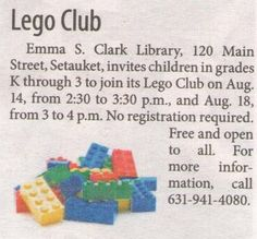 Join us tomorrow! (Thank you to the Village Times Herald for including this in last week's newspaper).