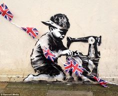 Banksy created an inspiring and powerful piece of art on the side of a London Pound Land. The graffiti shows a child worker slumped over a sewing machine, sewing the Union Jack for the Queens Jubilee. This represents on going child labour in developing countries.  Banksy wanted to highlight the problem to members of the public and open their eyes to this unfair labor.