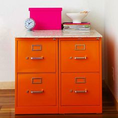 LoVe This Super Easy Updated Look to Filing Cabinets Add Solid-Surface Top and Wah-Lah Additional WorkSpace!