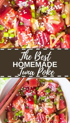 This Best Ever Tuna Poke recipe is so easy to make at home! It's light, fresh, healthy and delicious! Loaded with fresh tuna and the dreamiest poke flavors! Fresh Tuna Recipes, Tuna Steak Recipes, Seafood Recipes, Appetizer Recipes, Cooking Recipes, Healthy Recipes, Raw Fish Recipes, Healthy Food, Ahi Tuna Recipe