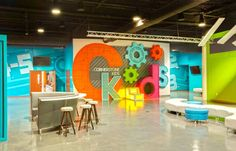 Transform Your Kids Areas: Bold and Color Bursting Designs - Worship Facilities Magazine Kids Church Decor, Kids Church Rooms, Sunday School Decorations, Church Nursery, Kids Decor, Kids Church Stage, Youth Rooms, Church Decorations, Maker Fun Factory Vbs