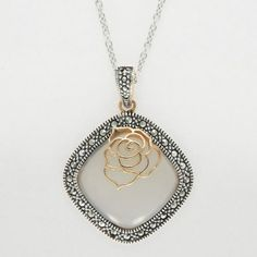 Aura 925 Sterling Silver Genuine Chalcedony & Marcasite Pendant Rose Gold Plated