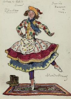A costume design for Petrushka: The first street dancer