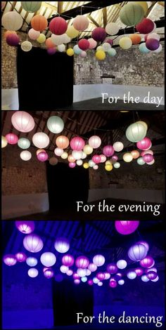 Lighting that adapts throughout your #wedding day. Beautiful paper lantern canopies from Oakwood Events