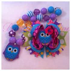 Hoot Owl Boutique Bow and Chunky Necklace Set by BanglesnBows, $25.00