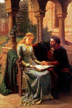 "Edmund Blair Leighton (Londres, Inglaterra, 21 de setembro de 1852- Londres, Inglaterra, 1 de setembro de 1922) - ""Abelard and his Pupil Heloise"""