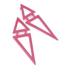 Neon Pink Triangle Earrings by Divadoo
