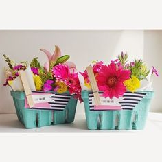 Flower Place Settings or Favor Baskets | A Pretty Cool Life | #garden #diy #favors