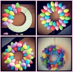 DIY Plastic Egg Wreath Make colorful egg wreath for a Hoppy Easter. You'll need about 40 plastic eggs with Easter grass to recreate this idea. Related Posts Easy DIY Easter Wreaths for Front DoorWhen spring has sprung it's time to turn our heads towards Spring Crafts, Holiday Crafts, Diy Easter Decorations, Easter Wreaths Diy, Diy Wreath, Easter Projects, Diy Projects, Hoppy Easter, Easter Eggs