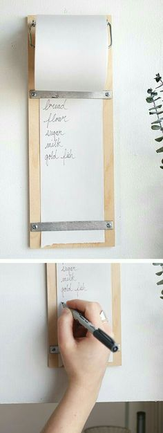 Mount this DIY shopping list in a convenient kitchen nook for easy access.Mount this DIY shopping list in a convenient kitchen nook for easy access.Home Wall Ideas