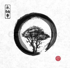Tree in black enso zen circle.
