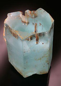Rare Aquamarine Crystal with Garnet Inclusions