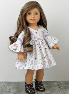 10698185d080 18 inch Doll Clothes-Floral Doll Dress fits like American Girl Doll, AG Doll  Clothes, 18 inch Doll Dress, Doll Clothes