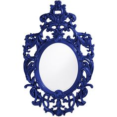 Dot & Bo Baroque Mirror - Royal Blue (£290) ❤ liked on Polyvore featuring home, home decor, mirrors, filler, frames, interior, baroque wall mirror, baroque home decor, wall mirrors i royal blue home decor