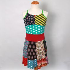 Girls upcycled tshirt twirl dress size 7 yrs up to 9 by dressme, $47.50