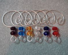 12 Squashed Melon Glass Beaded Christmas Ornament Hangers Hooks Enhancers Silver