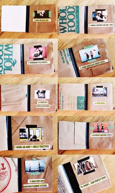 """10 Highlights book - I made this scrapbook from recycled materials to celebrate some of the """"highlights"""" of my relationship with Jeremy. I listed out ten things that I love about our life and then used a highlighter pen and cut them into strips for each page. It's the perfect small book for our coffee table at home."""