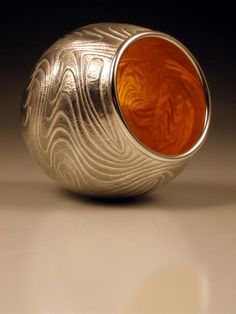 "David Huang ""Luminous Relic 922"" 3.25"" x 3"" x 3"" fine silver, 23k gold leaf"