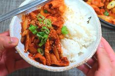 Spicy pork bulgogi is the signature pork BBQ in Korea. Thin slices of pork are coated with spicy gochujang sauce and served with hot rice. Korean Pork Bulgogi Recipe, Spicy Korean Pork, Bulgogi Marinade, Gochujang Recipe, Korean Food, Korean Kitchen, Asian Recipes, Ethnic Recipes, Bbq Pork
