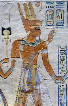 'Ramses III in the tomb of Amenherkhepshef.' This coloured relief portrays Ramses III in the tomb which was made for his son prince Amenherkhepshef, who was a royal scribe and commander of the cavalry.