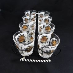 f60054ff18e Green And Gold Liqueur Glasses. Green And Gold Stripped Shot Glasses ...