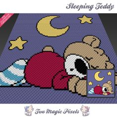 Sleeping Teddy is a graph pattern that can be used to crochet a blanket using C2C (Corner to Corner), TSS (Tunisian Simple Stitch) and other techniques. Alternatively, you can use this graph for knitting, cross stitching and other crafts. This graph design is 100 squares wide by 100 squares high. It requires 7 colors. Pattern PDF includes: - color illustration for reference - color square pattern Image only, no written counts. This listing is for a digital pattern only. The PDF file of...