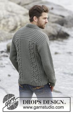 "Knitted DROPS men's jacket with cables and shawl collar in ""Lima"". Size: S - XXXL. ~ DROPS Design"