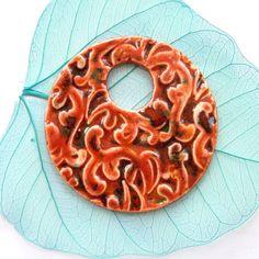 Ceramic pendant round pendant focal handmade by KilnFiredArt