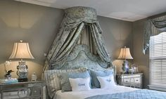 One of my favorite ways to add interest to a bed canopy is by adding an additional fabric pattern to the interior of the design.
